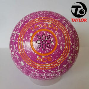Taylor Ace Progrip Coloured Bowls Pink White Geometrical