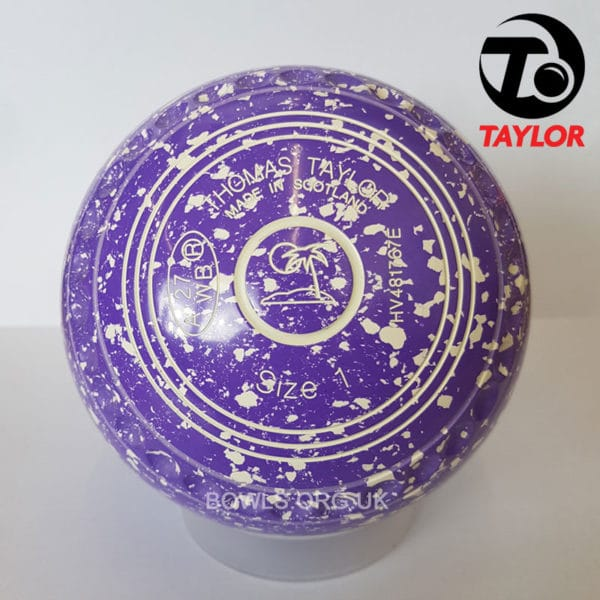 Taylor Ace Progrip Coloured Bowls Purple White Island Stamp